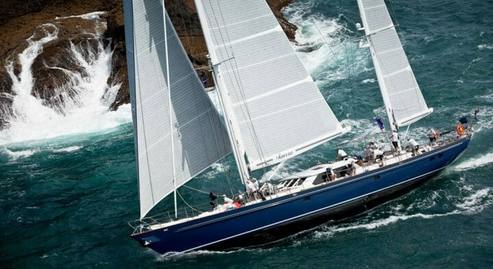 Tawera New Zealand Millennium Cup; Tawera is among superyachts at the 36th America's Cup