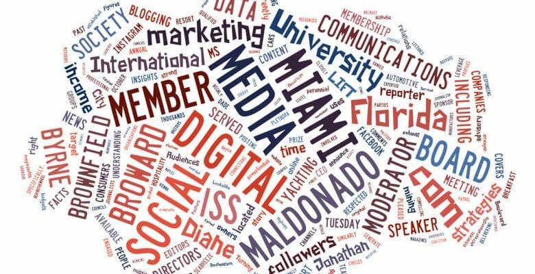International Superyacht Society social media panel word cloud