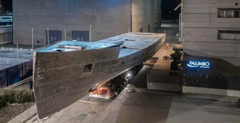 Columbus S50 megayacht hull entering the Palumbo Superyachts Ancona headquarters