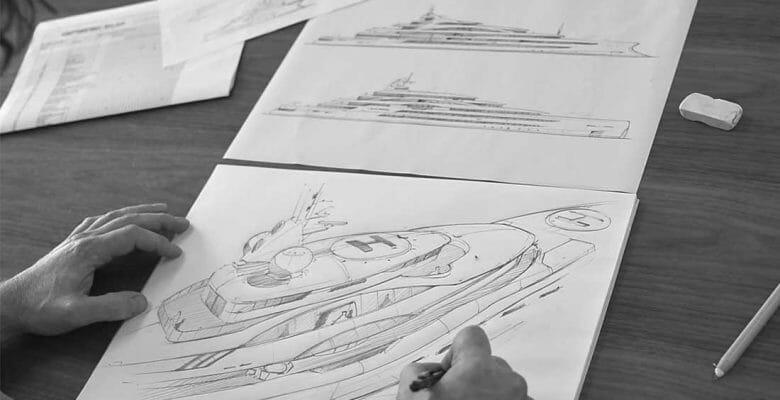 Steve Grtesham hand sketches a superyacht