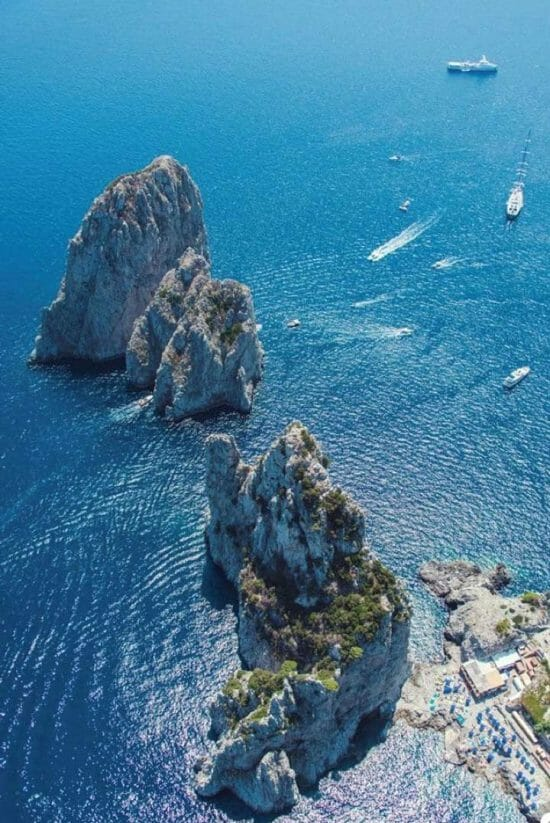 aerial view of Capri on the Amalfi Coast for Marina d'Arechi megayacht feature