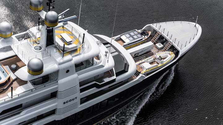superyacht Scout as seen from above; she was one of the biggest megayacht stories of 2019