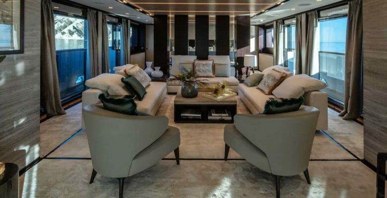 ISA Yachts megayacht Agora III saloon and dining room