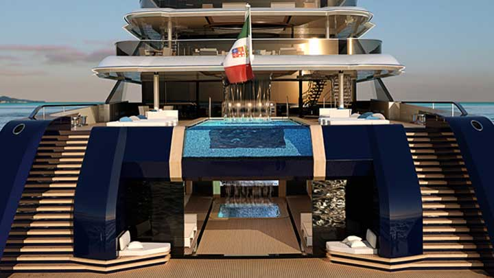 the Columbus Classic 120-meter megayacht has an indoor pool with a waterfall