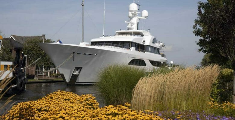 the refit of W is taking place at the megayacht builder Feadship
