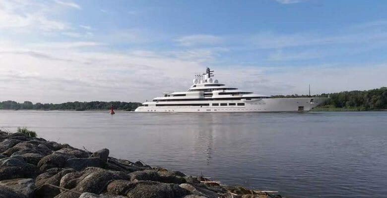 the Lurssen superyacht Project Lightning is seen on sea trials; her real name is Schehezerade