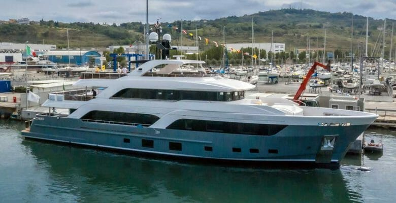 the megayacht Acciaio 123 launched in September 2019