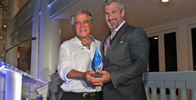 Amos Nachoum, pictured with Jay Wade, received honors at the International SeaKeepers Society 2019 Founders Event, attended by superyacht owners and crew