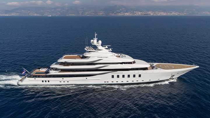 the superyacht Madsummer from Lurssen is for a repeat customer; ; she's also one of the superyachts in Miami for Super Bowl LIV