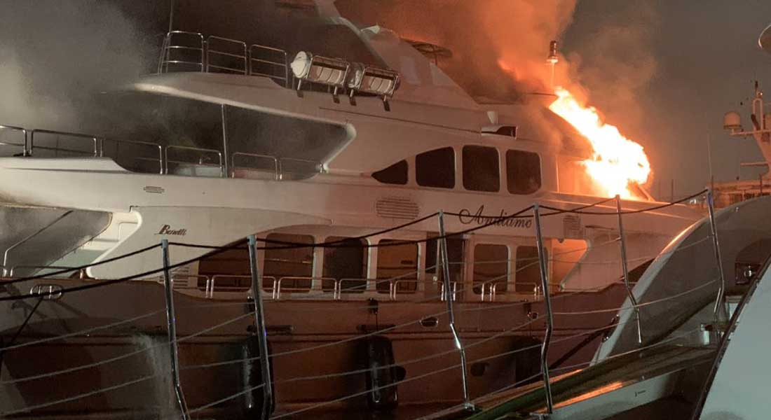 Marc Anthony's megayacht Andiamo; the Andiamo fire caused it to sink