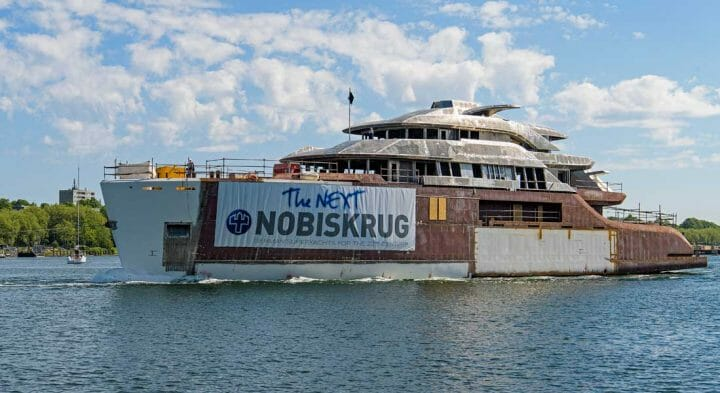 the somewhat confidential megayacht Nobiskrug Project 794 moved build sheds on May 30
