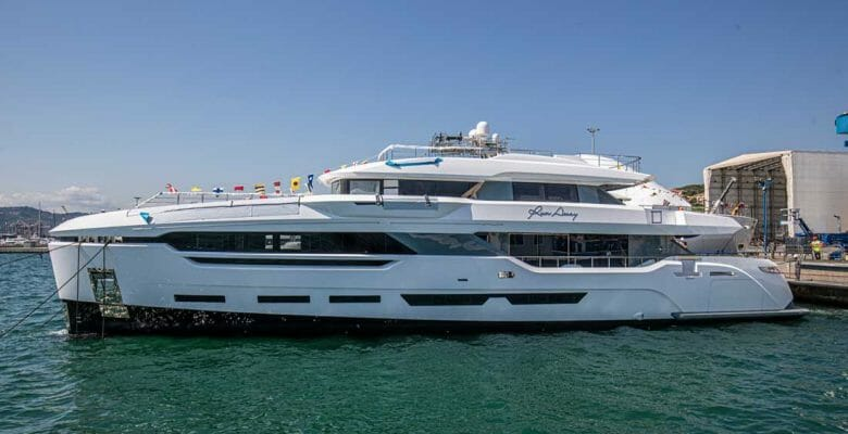 the megayacht Run Away, a.k.a. DOM123, launched at Baglietto in July
