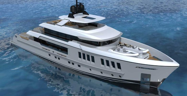 the Cantiere delle Marche EXP 42 is a new semi-custom megayacht model