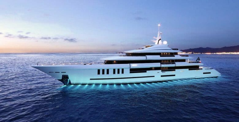 the ISA Continental 80 megayacht is under construction on spec