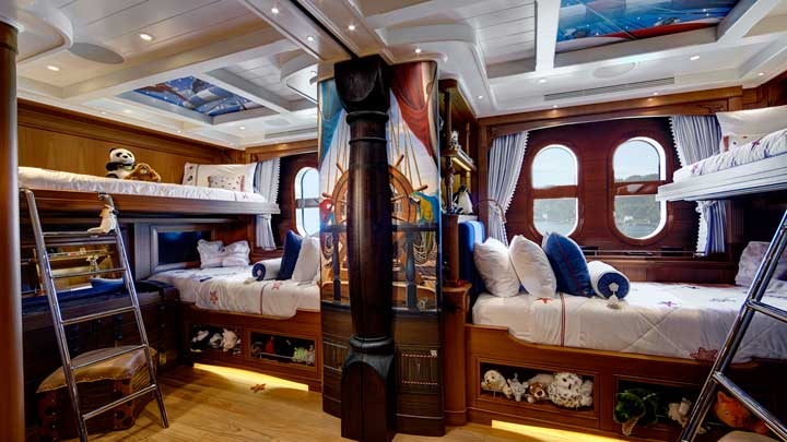 the megayacht Sea Owl has a terrific pirate themed kids cabin