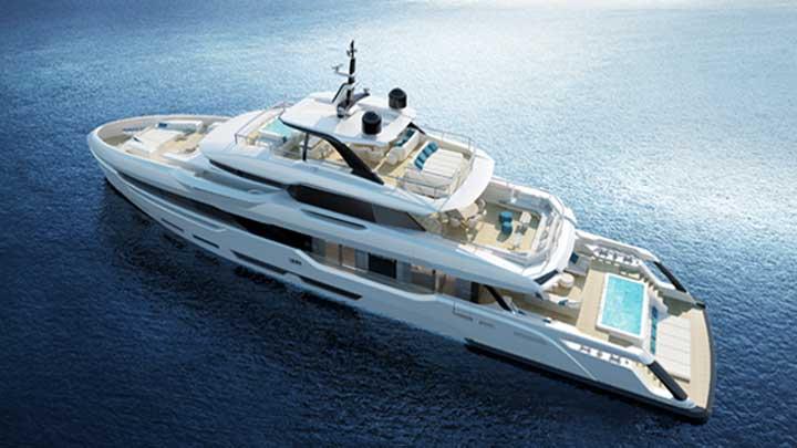 the Baglietto DOM133 megayacht has a big pool