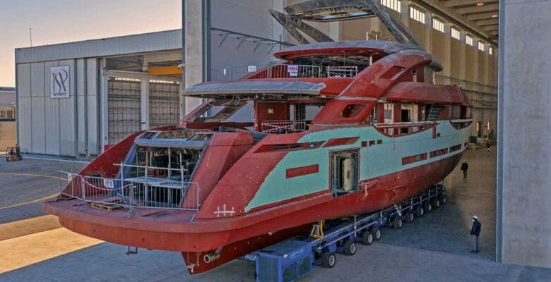 the ISA GT 45 megayacht prepared for outfitting in October 2020