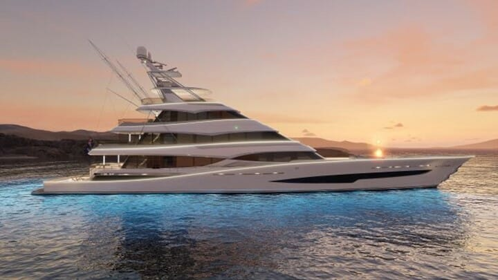 the megayacht known as Royal Huisman Project 406 is six decks high
