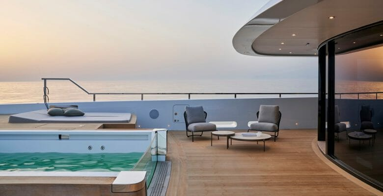 the Sanlorenzo 62 Steel Cloud 9 superyacht has an owner's deck