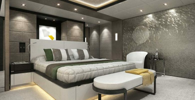 the Majesty 175 megayacht has a palatial VIP suite