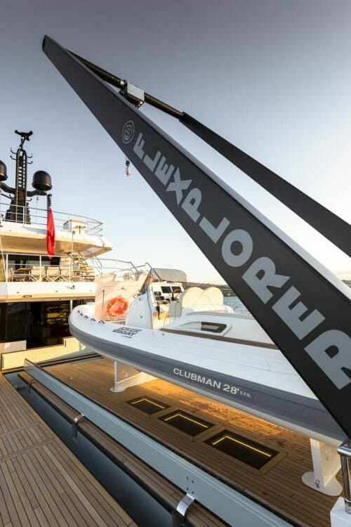the amazing spaces aboard Aurelia include this superyacht tender crane, an A frame