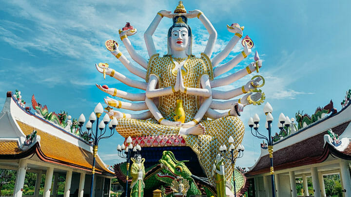 see Big Buddha while island hopping by superyacht in Thailand
