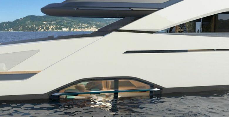 the Tankoa Sportiva 55M megayacht has partially submerged hull windows