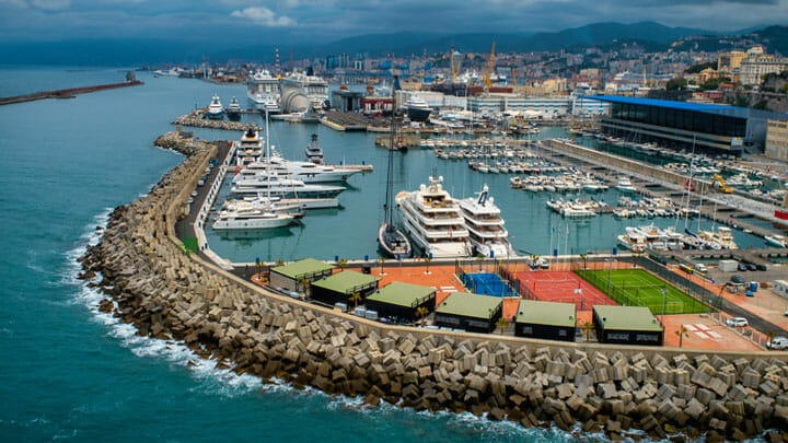 Genoa's new Waterfront Marina caters to some of the largest superyachts and has ball courts