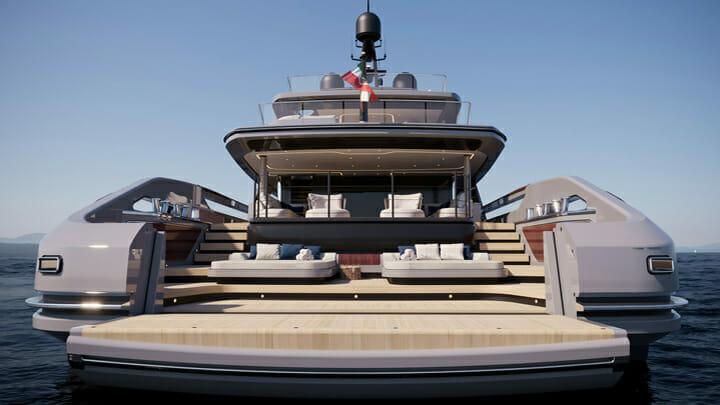 the three-level beach club aboard the Baglietto T52 megayacht