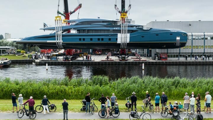 the megayacht Phi finally launched at Royal Huisman after much anticipation