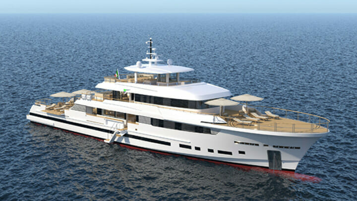 the Explorer 49.5 is a megayacht designed by Tomasso Spadolini