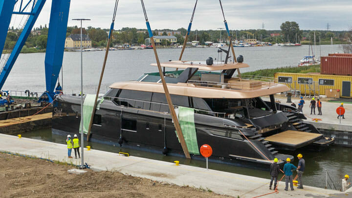 the first 100 Sunreef Power megayacht catamaran launched in Poland in 2021