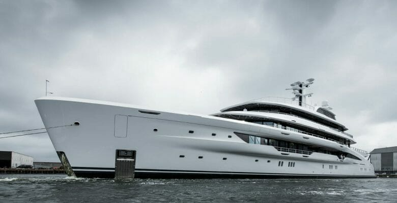 a Custom Amels 78 superyacht as seen in August 2021
