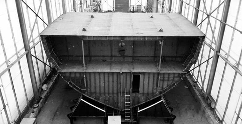 the construction for the ISA Continental 80 megayacht hull