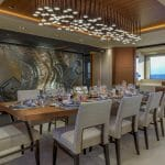 dining room aboard the VSY Atomic superyacht