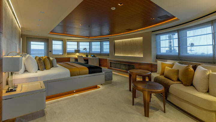 the master suite aboard the VSY Atomic superyacht