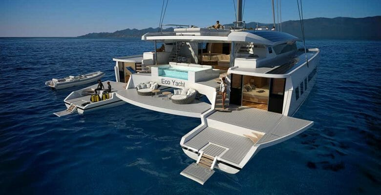 the Wider-Pajot 145 Eco Yacht is a megayacht catamaran