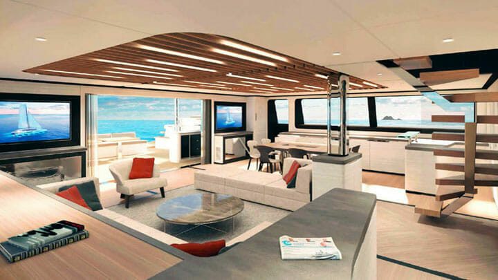 super-wide space is a feature of the 145 Eco Yacht superyacht catamaran