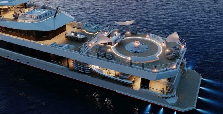 the Damen Yachting SeaXplorer 60 superyacht party deck