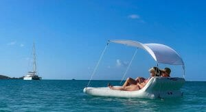 the FunAir Floating Shaded Lounger is the newest inflatable superyacht toy