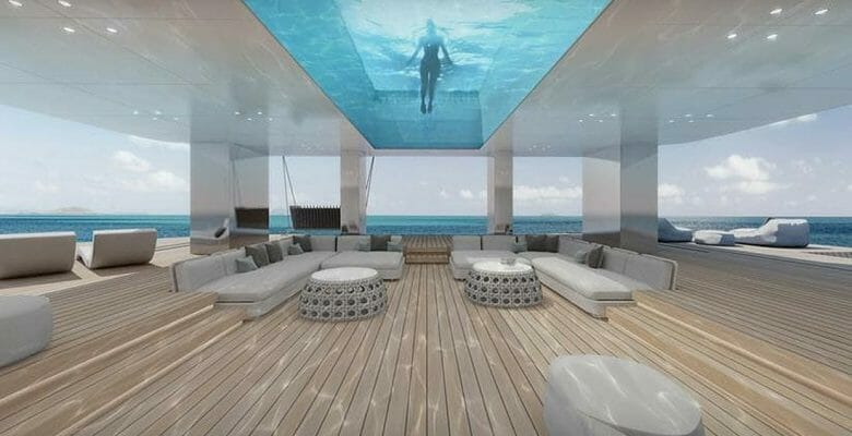 the MM770 megayacht proposal has a glass-bottomed pool