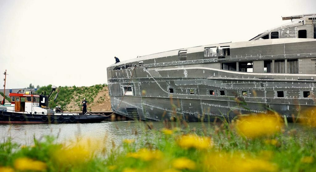 the Project Skyfall hull and superstructure at the superyacht yard Heesen