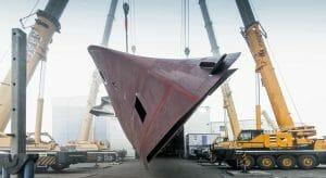 the hull for the megayacht Moonen YN202