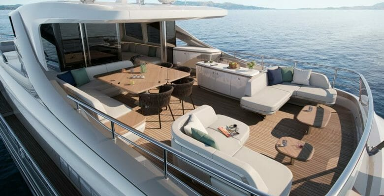 the Princess X80 is a small Superfly superyacht
