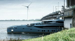 the motoryacht Phi going on sea trials
